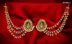 Temple Jewellery Bahubali Long Chain Pearl Diamond Alloy Earring