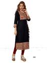 Crepe Black Color 3/4th Sleeve & Round Neck Indian Kurti