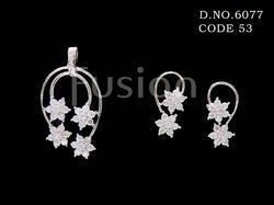 American Diamond Star Shape Pendant Set