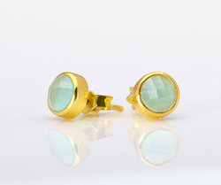 6mm Aqua Chalcedony Tiny Pretty Girl Earring Gold Plated Stud