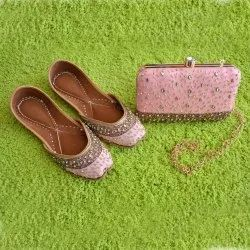 Pink Punjabi Jutti With Matching Clutches Buy Online