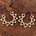 Mandala Design Brass Hoop Tribal Indian Earrings