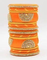 Orange and Golden Silk Thread Bangle