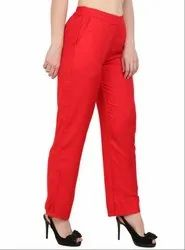Red Ankle Length Palazzo Pants