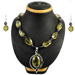 925 Sterling Silver Semi Precious Stones Necklace