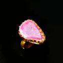 Rough Gemstone Gold Finish Statement Women Ring