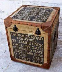 Leather Box Pouf