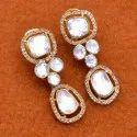 Fine Dangler Earring Moissanite Polki Jewelry