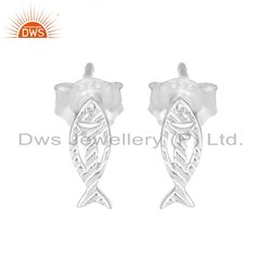 Fish Design Sterling Fine Silver Womens Earring Stud Pair Jewelry