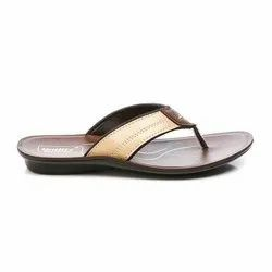 Mens Brown Beige Synthetic Leather PU Slipper