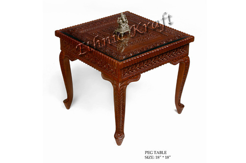 Teak Wood Side Table.Carved Teakwood Side Table