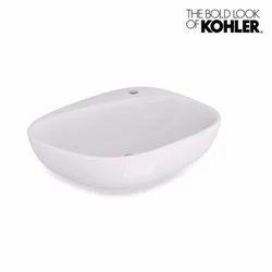 White Kohler Basin Sink With Single Faucet Hole
