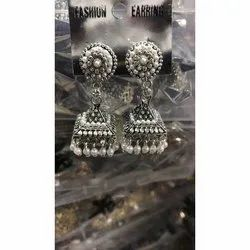 Parties and Weddings Oxidized Silver Ladies Imitation Earrings