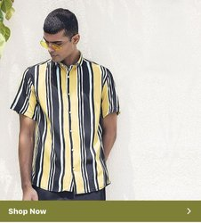 Stripe Yellow Half Sleeve Men Casual Cotton Shirt