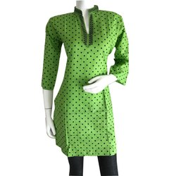 Green Polka Dot Printed Kurti