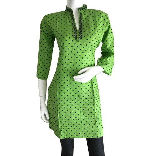 Cotton 3/4th Sleeve Green Polka Dot Printed Kurti