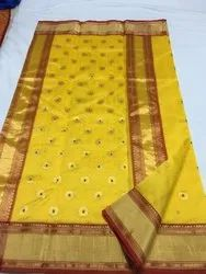 Handloom Chanderi Sarees with Blouse, 5.5 Mtr