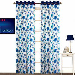 Fabutex Floral Eyelet Polyester Door Curtain Set - 7ft, Set of 2, Blue