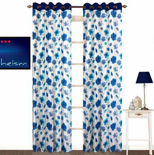 fabutex floral eyelet polyester door curtain set 7ft set of 2 blue