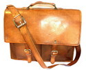 Double Compartment Leather Briefcase Bag