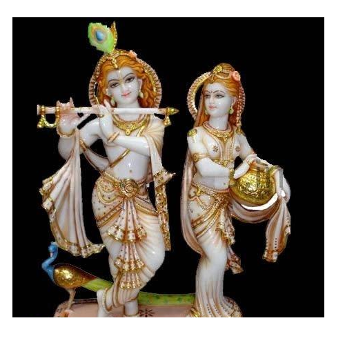 Multicolor Hindu White Marble Radha Krishna Statue For Worship