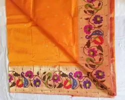 Party Wear Pink Popat Flowers Paithani Saree, Dry Clean, 6 m (With Blouse Piece)