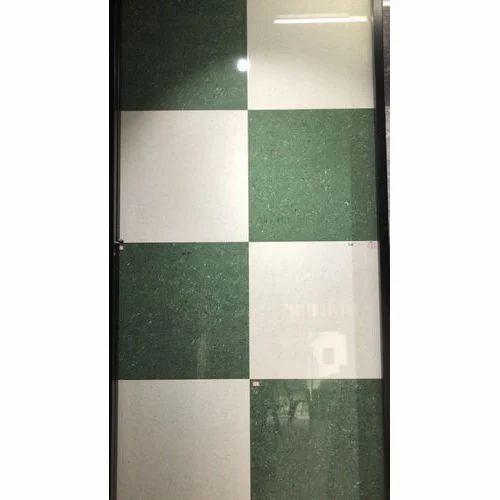Green White Ceramic Polished Checd Floor Tile 10mm