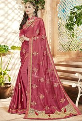 Onion Pink Embroidered Partywear Saree