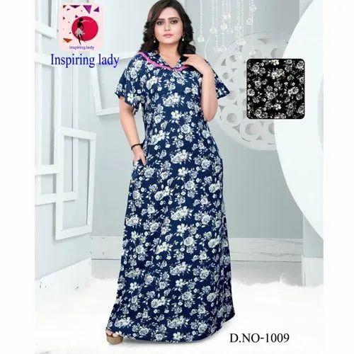 Full Length Inspiring Lady Ladies Printed Rayon Nighty