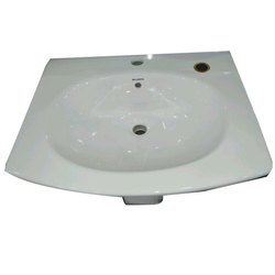 Pedestal White 17 Inch Ceramic Wash Basins, for Bathroom