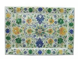Rectangular Marble Inlay Plate