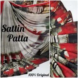 Ladies Printed Satin Patta Saree
