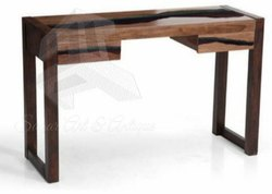 Wood Epoxy Resin River Console for Home, Size: 48x1.5x30