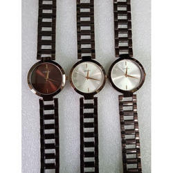 Women BROWN Tone Chain Wrist Watch