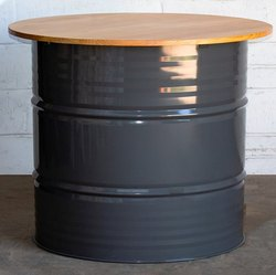 Brown 75 Cm Upcycled Iron Wood Barrel Round Drum Table, For Hotel, Seating Capacity: 4 Person