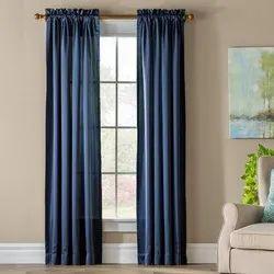 Blue Polyester Plain Window Curtain