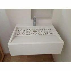 Rectangular Modern CNC Cutting White Solid Surface Wash Basin