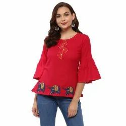 Yash Gallery Women's Cotton Slub Patch Work Top