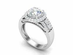 Solitaire Natural Designer Shank Wedding Ring