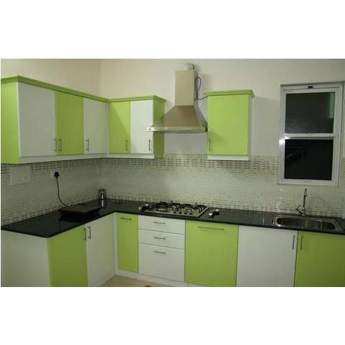 Green Modular Kitchen: Green, White Modular Kitchen, Rs 650 /square Feet, Happy