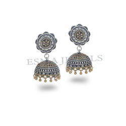 Style Black Metal Gold Palted Oxidized Jhumka Jhumki Earring