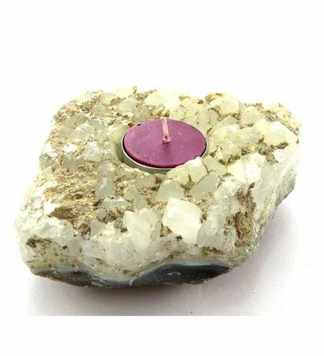 Candle Holders Rose Quartz Natural