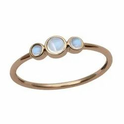 Three Stone 9k Yellow Fine Gold Natural Moonstone Women Stack Ring