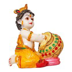 Marble Look Lord Krishna Multicolor Statue