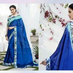 Blue Digital Print Chiffon Saree
