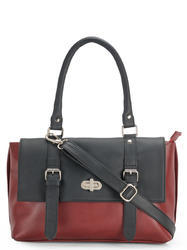 Yelloe Black Red  Synthetic Leather Hand Bag With Stylish