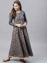 Cotton Party Wear Printed Anarkali Dress, Machine Wash