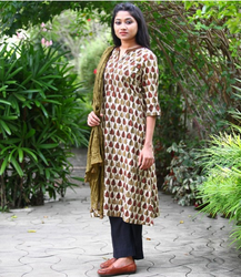 Grey And Beige Dabu Printed Cotton Kurta