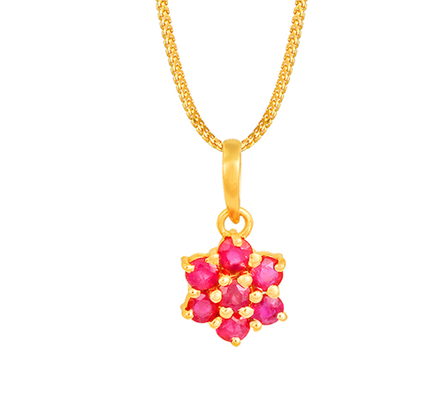 Tanishq 18kt Yellow Gold Ruby Pendant With Floral Design