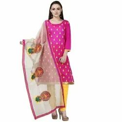 Pink Colored Poly Silk Embroidery Unstitched Casual Wear Salwar Suit